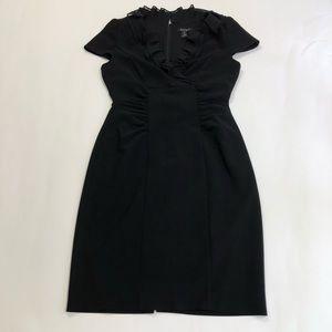 White House Black Market Black Ruffle Sheath Dress